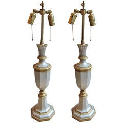 Pair of UK Georgian Style Bronze Table Lamps with Silver and Gold Plating, 1940s