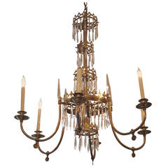 1900s Baltic Style Six-Light Chandelier with Spike Crystals