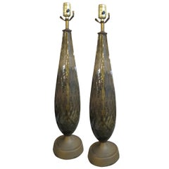 1940s Pair of Handmade Murano Glass Table Lamps from Italy