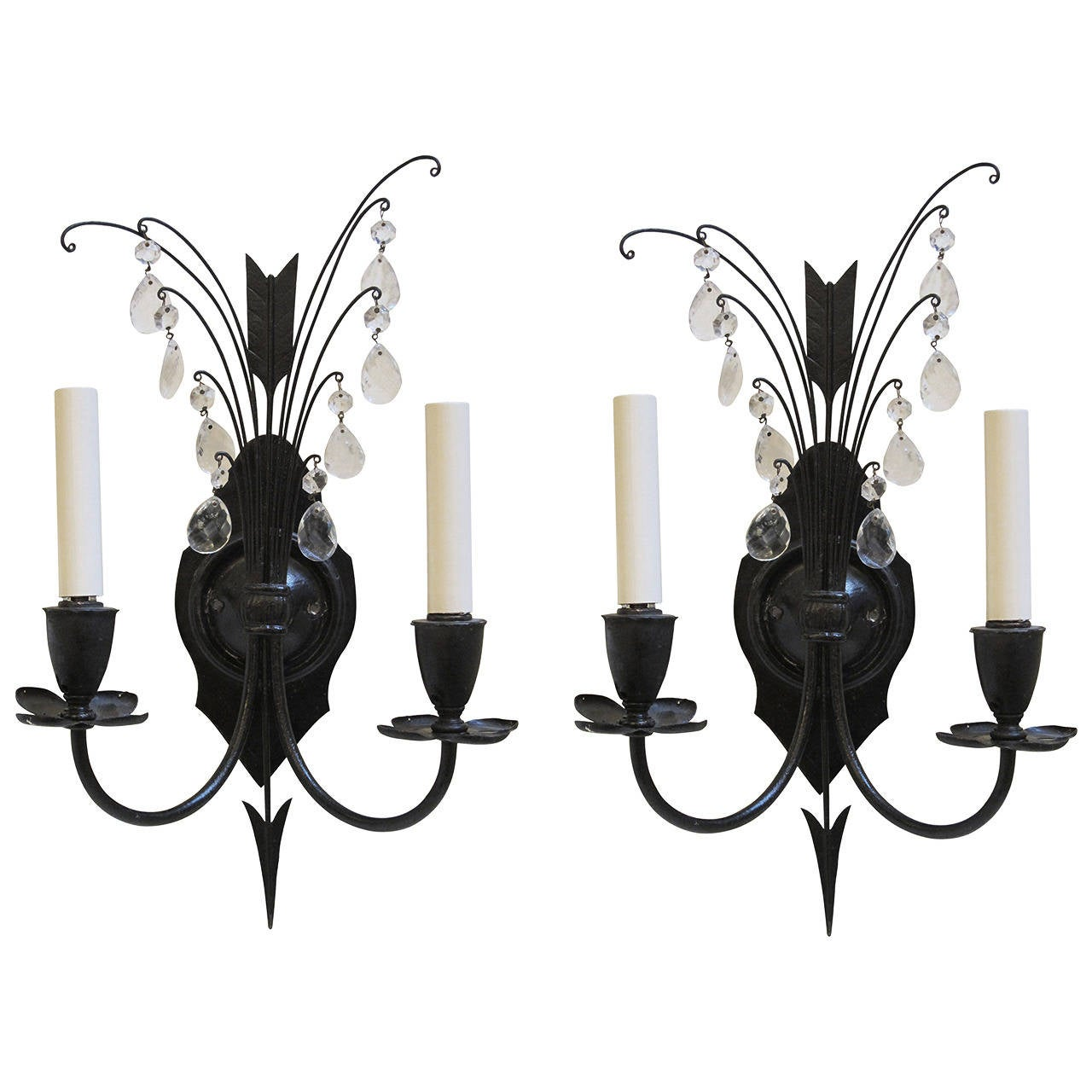 1920s Pair of Federal Style Iron and Crystal Sconces with Arrow