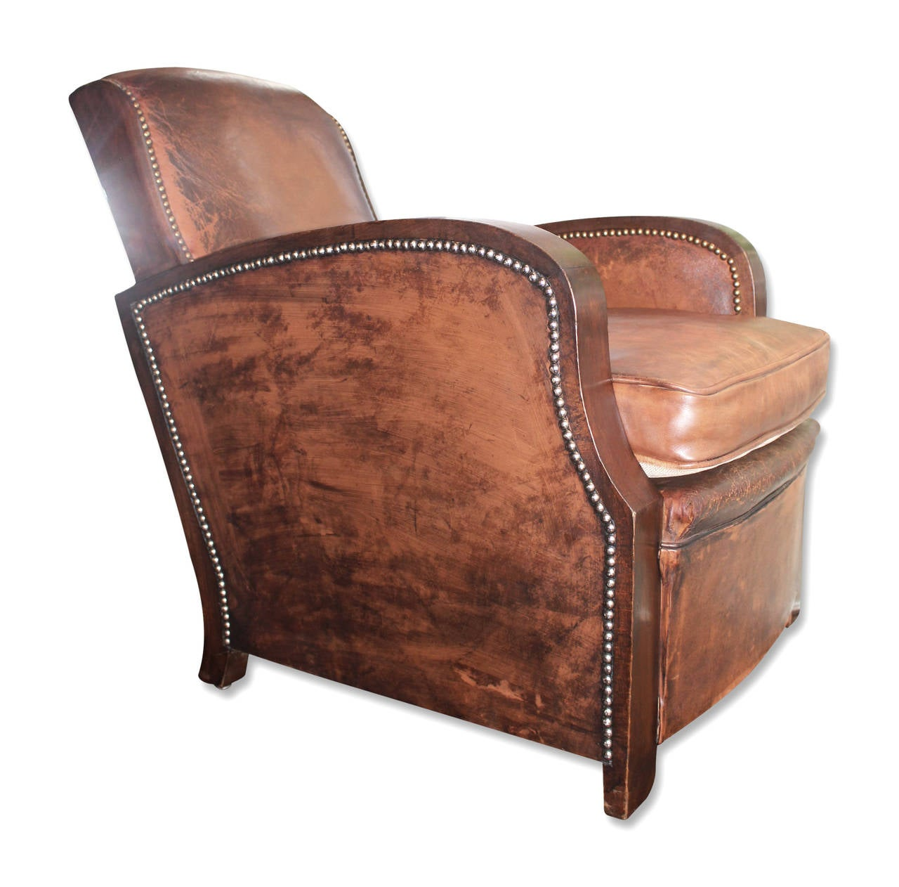 Very comfortable pair of 1950s french reclining leather armchairs - 1950s Pair Of French Leather Club Chairs With Rivets And Wood Detail 2