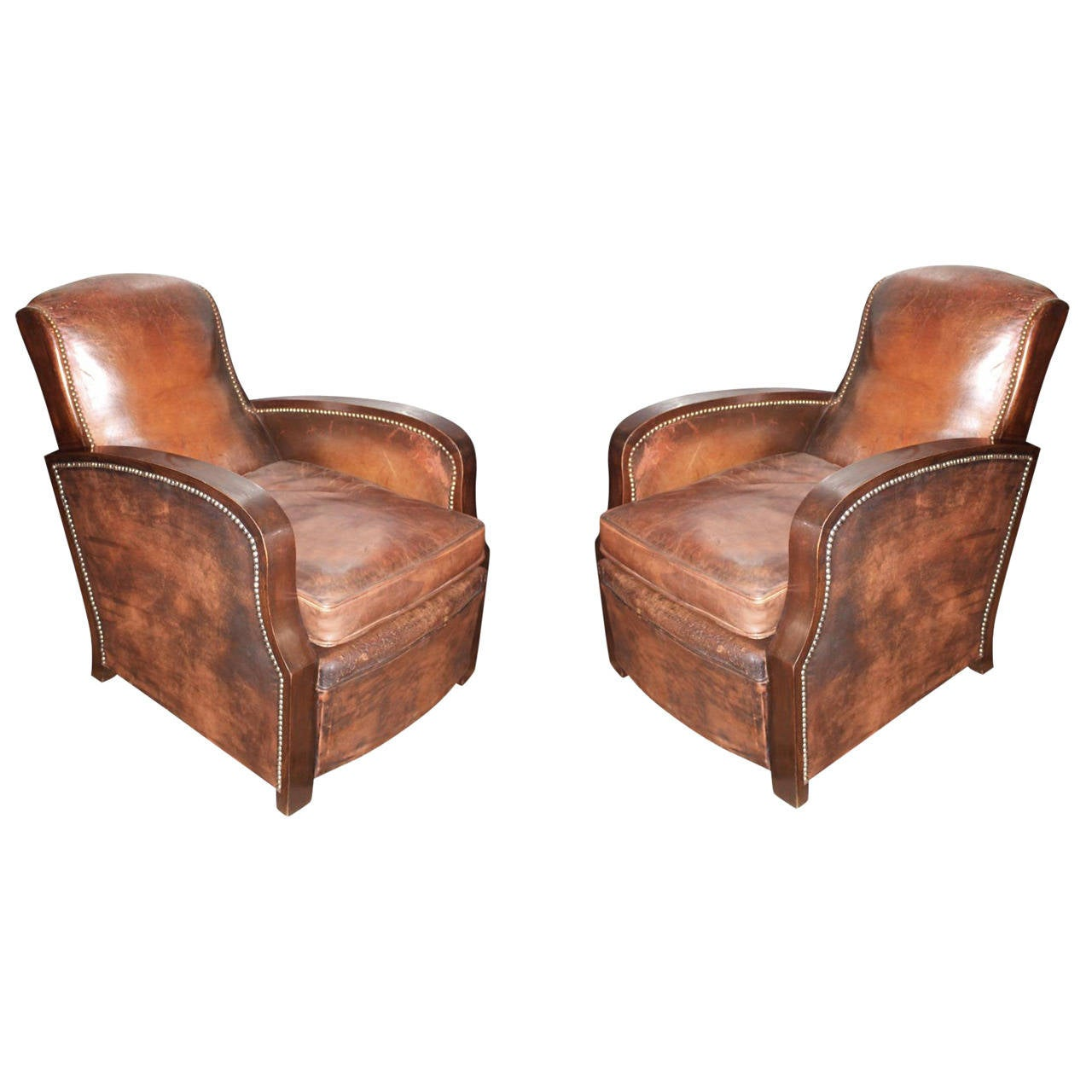 Very comfortable pair of 1950s french reclining leather armchairs - 1950s Pair Of French Leather Club Chairs With Rivets And Wood Detail 1