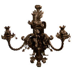 1800s Hand-Wrought Iron Pair of Gas Sconces