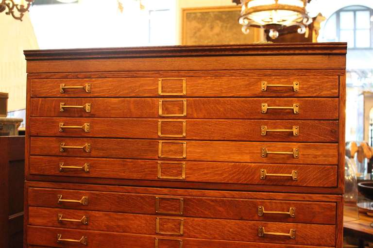 20 drawer tiger oak map cabinet or flat file with original