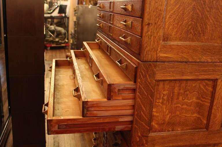 20 drawer tiger oak map cabinet or flat file with original