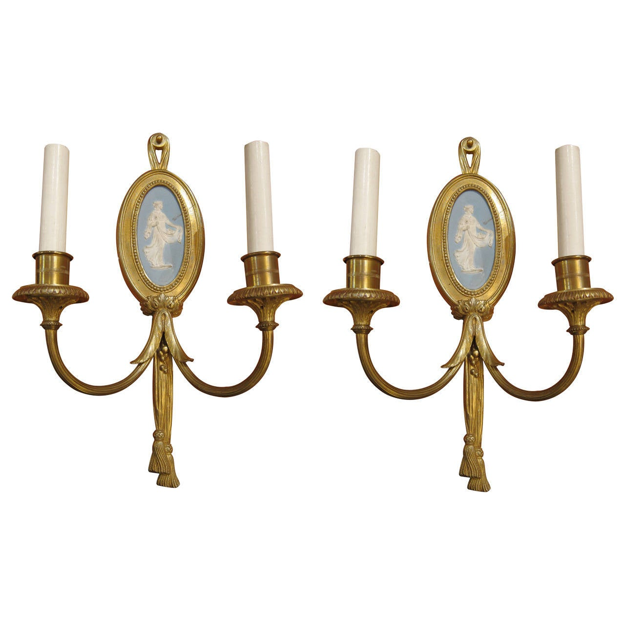 1900 Pair Of Sterling Gilded Bronze Louis XVI Two Candle Sconces With  Cameos 1
