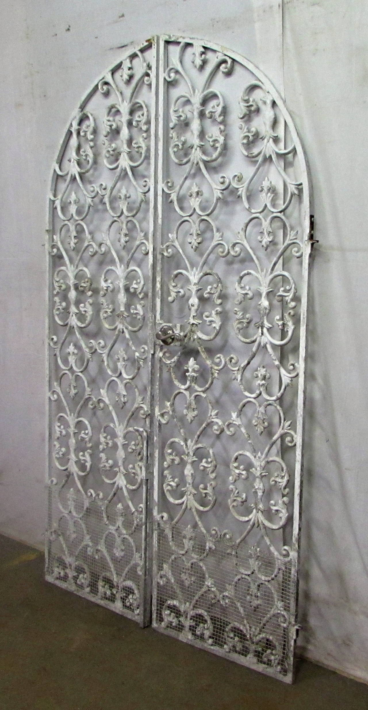 1920s Arched Cast Iron Double Gates With Door Hardware At