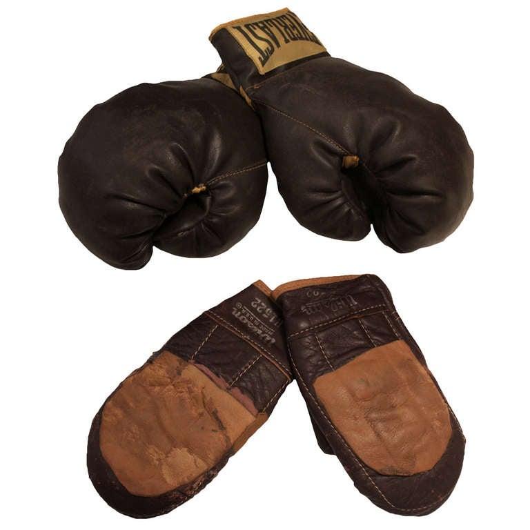Set Of Antique Boxing Gloves At 1stdibs