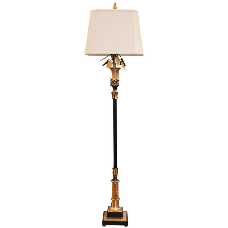 Ornate black and gold floor lamp with floral design at 1stdibs for Gold flower floor lamp