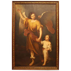 Large-Scale Antique Painting of Angel and Child