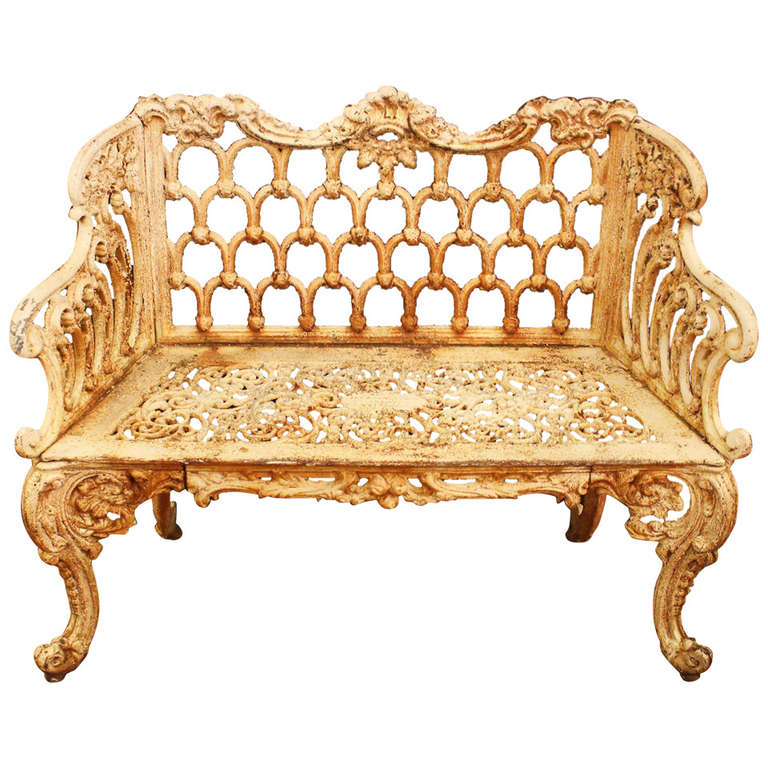 Rococo revival cast iron rose garden bench made by for Cast iron garden furniture
