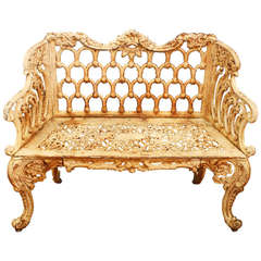 "Rococo Revival Cast Iron ""Rose Garden Bench"" Made by Kramer Bros Foundry"
