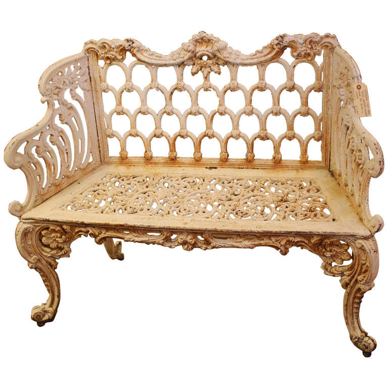 Rococo revival cast iron rose garden bench made by james for Rococo style furniture