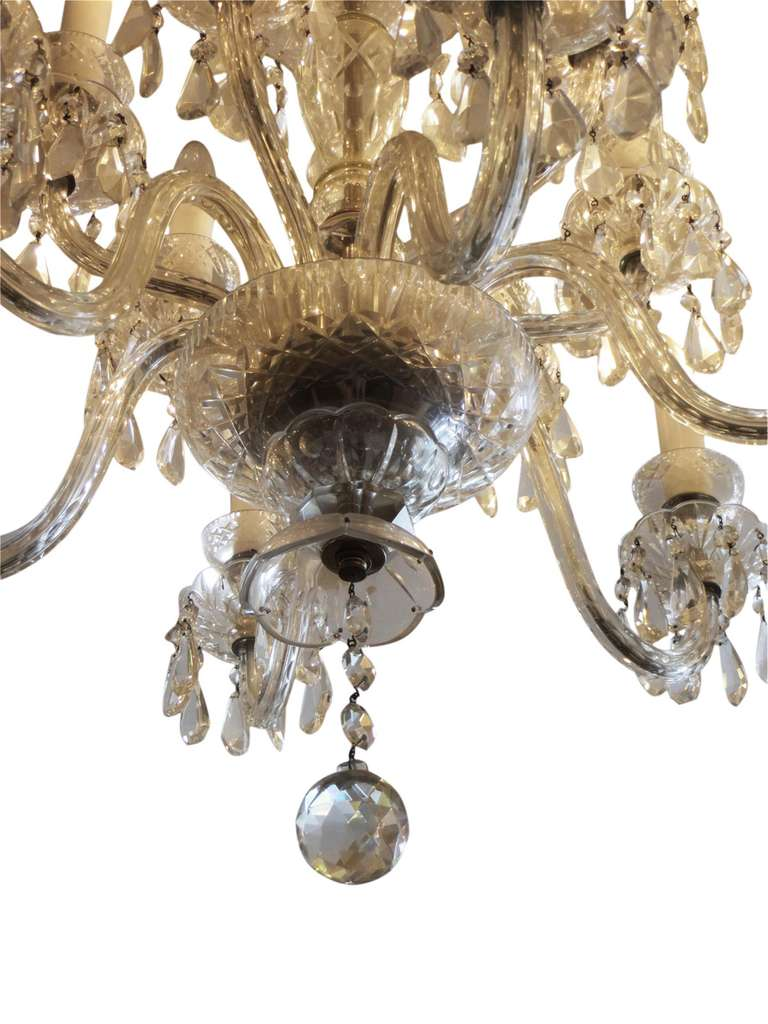 Crystal Chandelier From Czechoslovakia With 12 Arms And