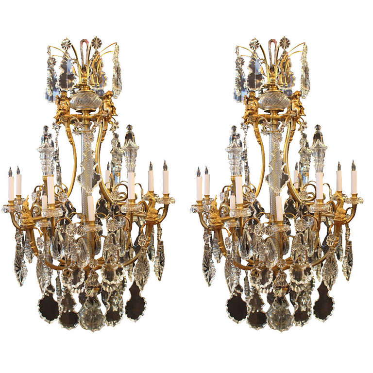 Pair of replica louis xv style of bronze chandeliers with tear drop pair of replica louis xv style of bronze chandeliers with tear drop crystals for sale aloadofball Gallery