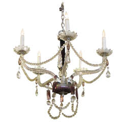 1930s Five Arm Chandelier with Black and Amethyst Crystal Dish