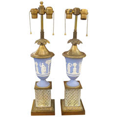 1920s Pair of English Made Wedgewood Table Lamps with Cut Crystal Bases