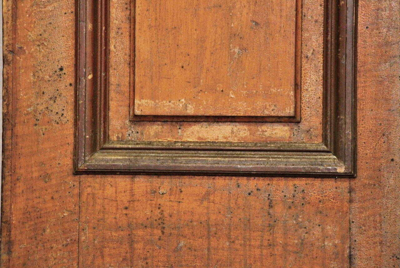 American 1876 Pair of Oversize Raised Panel Arched Entry Double Doors from New Jersey For Sale