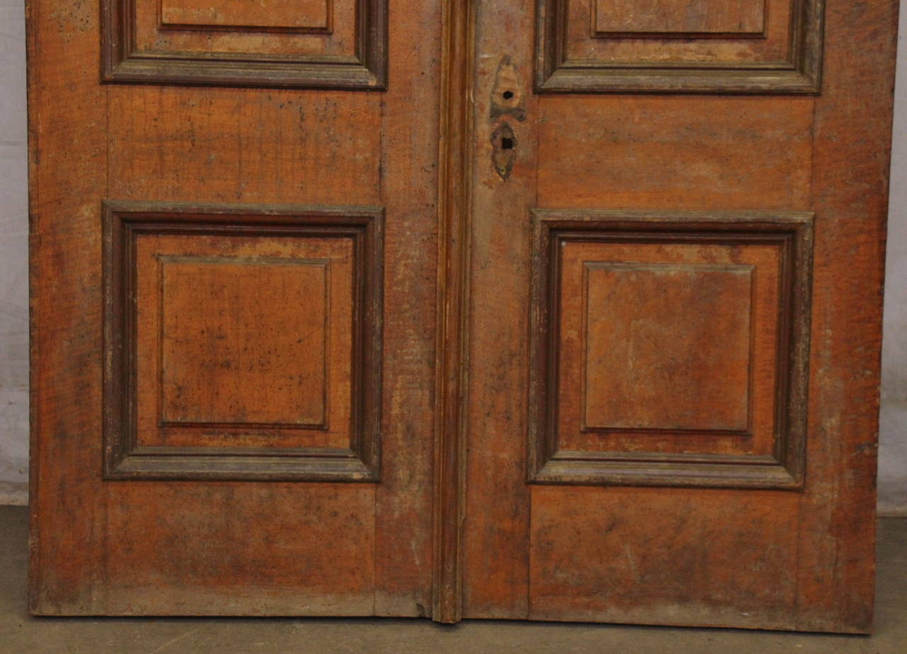 1876 Pair of Oversize Raised Panel Arched Entry Double Doors from New Jersey In Excellent Condition For Sale In New York, NY