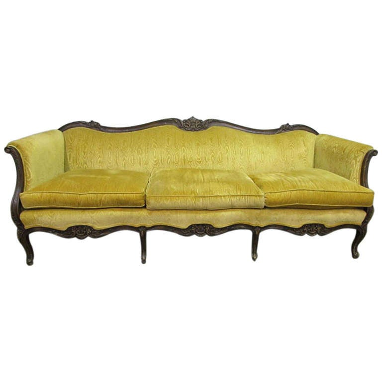Victorian Style Carved Sofa With Canary Yellow Upholstery At 1stdibs