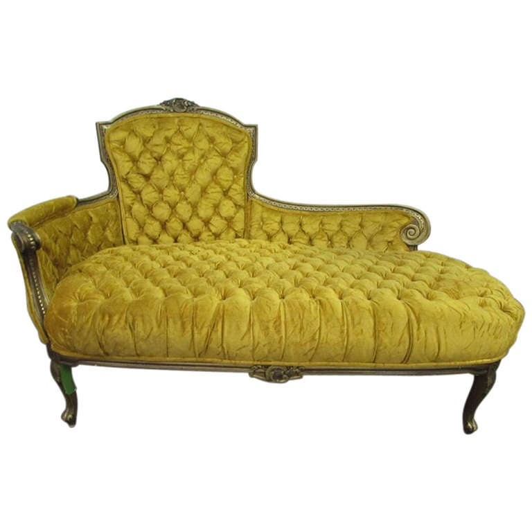 Tufted Yellow Velvet Victorian Carved Chesterfield Sofa At