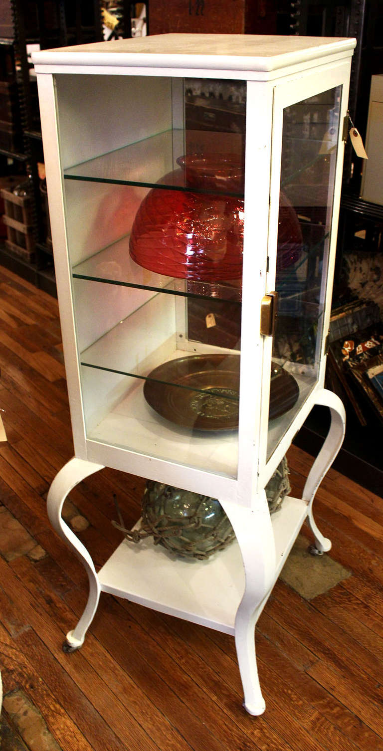 White Medical Cabinet With Three Glass Shelves At 1stdibs