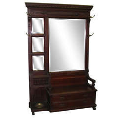 Late 1800s Beveled Pier Mirror with Coat Hooks and Umbrella Stand