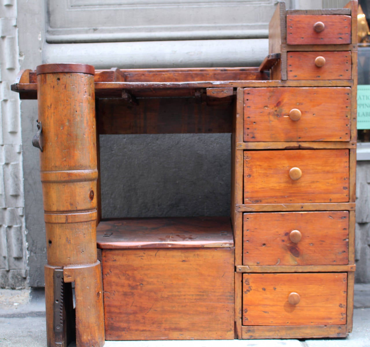 Antique pine cobbler work desk. Six roomy drawers. Column on left was used  to - 1880s Antique Pine Shoe Cobbler Work Desk With Drawers And