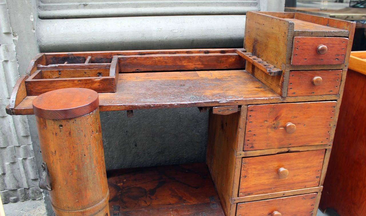 Uncategorized Antique Work Desk 1880s antique pine shoe cobbler work desk with drawers and cubbyholes 3