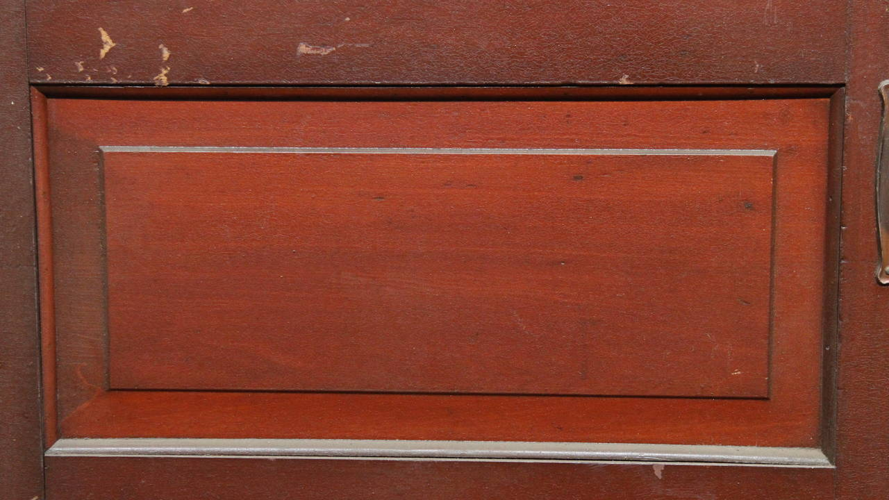 American 1920s Pair of Five-Panel Wooden Doors with Original Fumed Copper Hardware For Sale