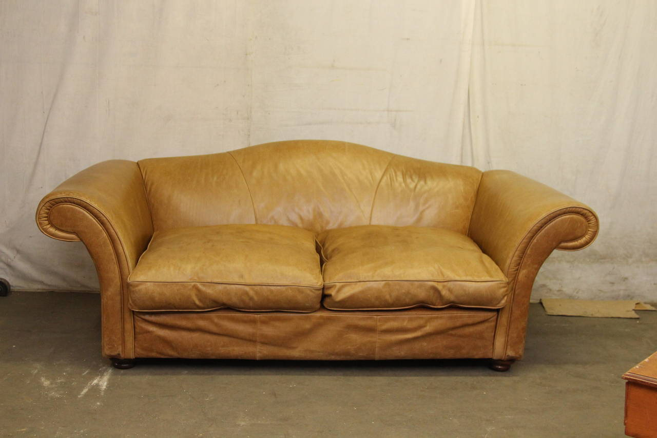 1950s oversized french leather sofa with down filled for Cushions for leather sofas