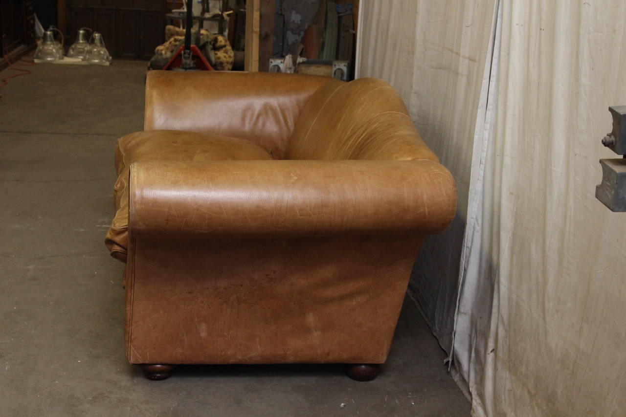 1950s Oversized French Leather Sofa With Down Filled Cushions For Sale 4