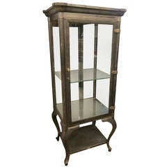 1907 Stripped Steel Dental Cabinet with Mirrored Backpanel and Glass Shelves