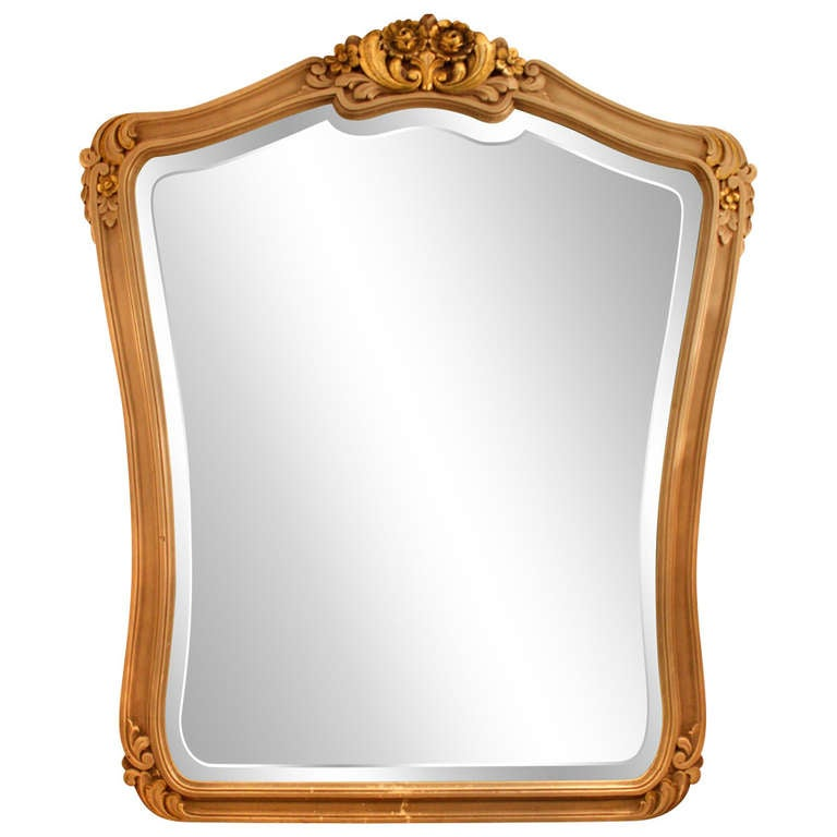 grayish gold wooden framed mirror for sale at 1stdibs