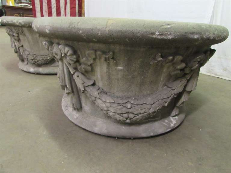 Mid-20th Century Large Garden Urns Salvaged from New York City For Sale