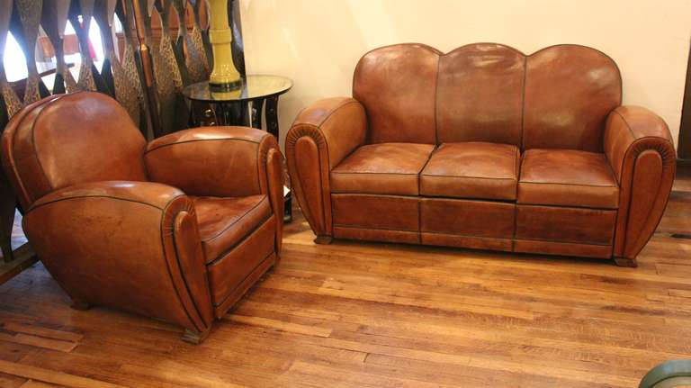 Merveilleux French Art Deco Leather Club Chair And Sofa. This Item Can Be Viewed At Our