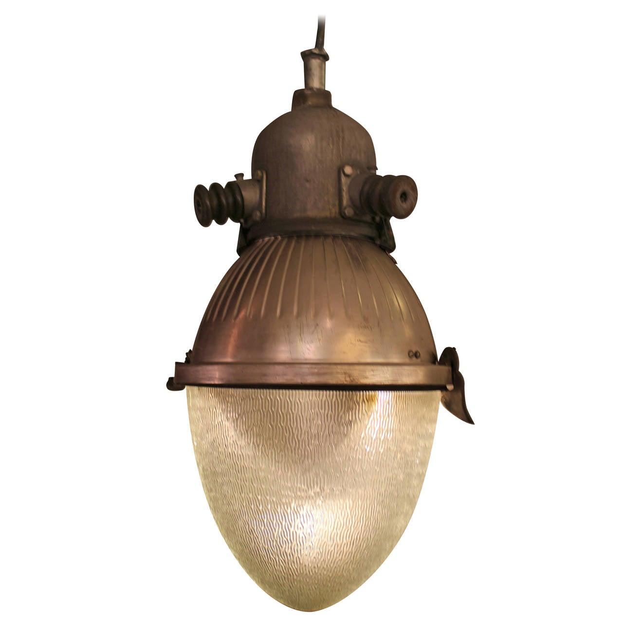 1950s Converted Industrial Quot Egg Quot Street Light Chandelier