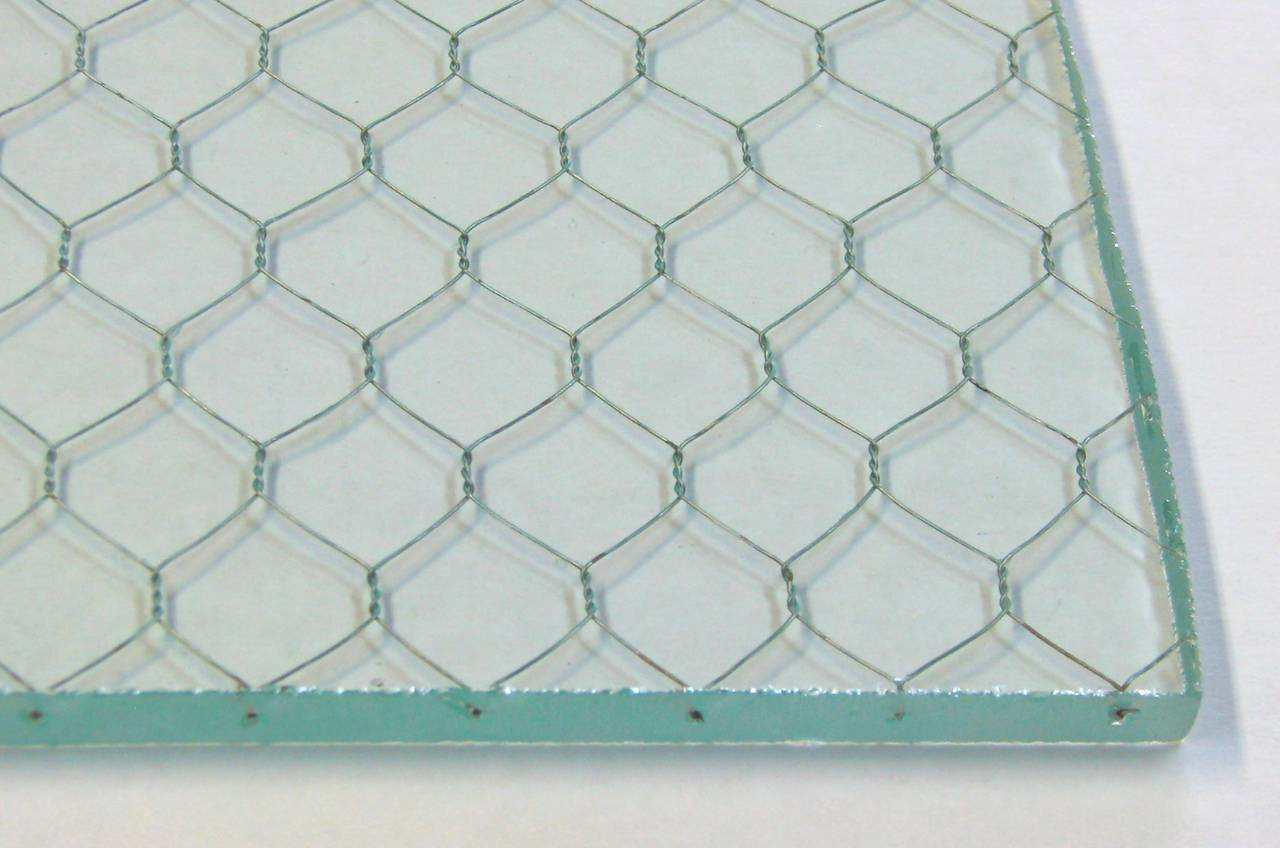 Early 20th Century 1920s Clear Industrial Chicken Wire Glass, Large Sheets Available For Sale