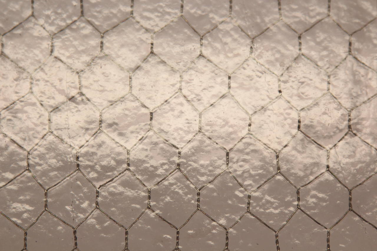1920s Purple Tinted Industrial Hammered Chicken Wire Glass For Sale ...