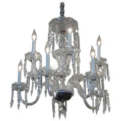 Two-Tier Etched Crystal Chandelier