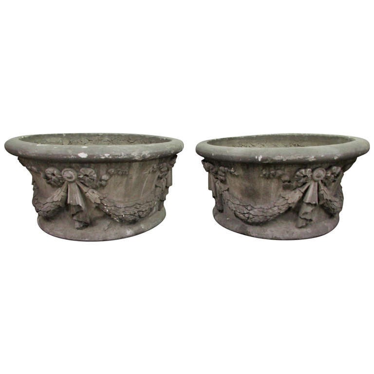 Large Garden Urns Salvaged from New York City For Sale