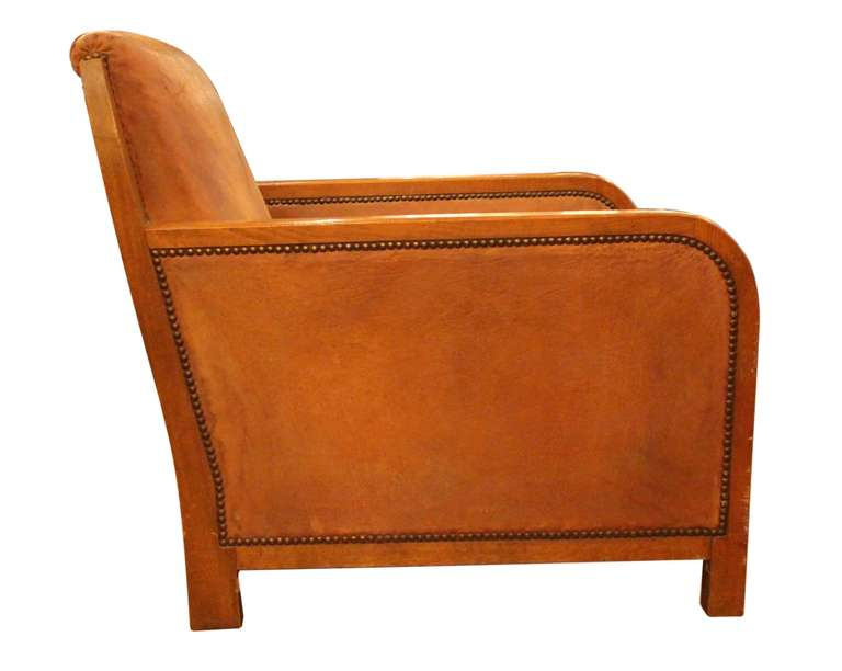 Art Deco Sheep Skin Club Chair With Rivets And Suede Cushion 3