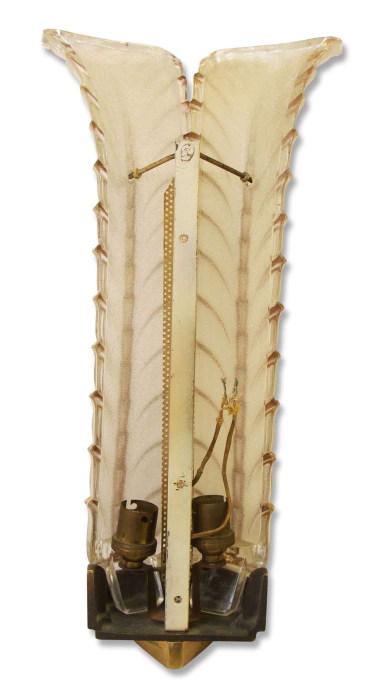Pair Of 1930s Art Deco Glass Wall Sconces From France At