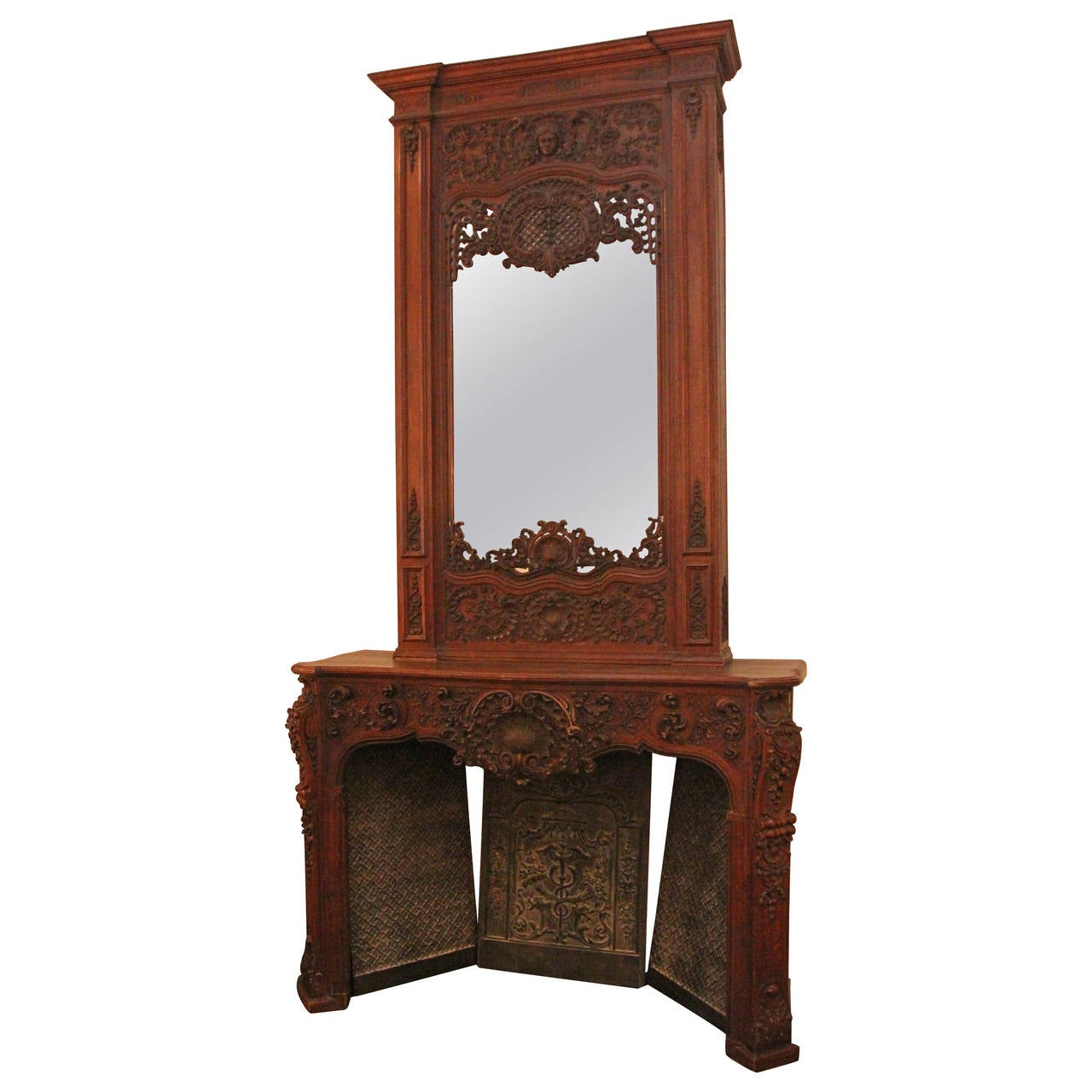 1878 large neoclassical carved walnut mantel and