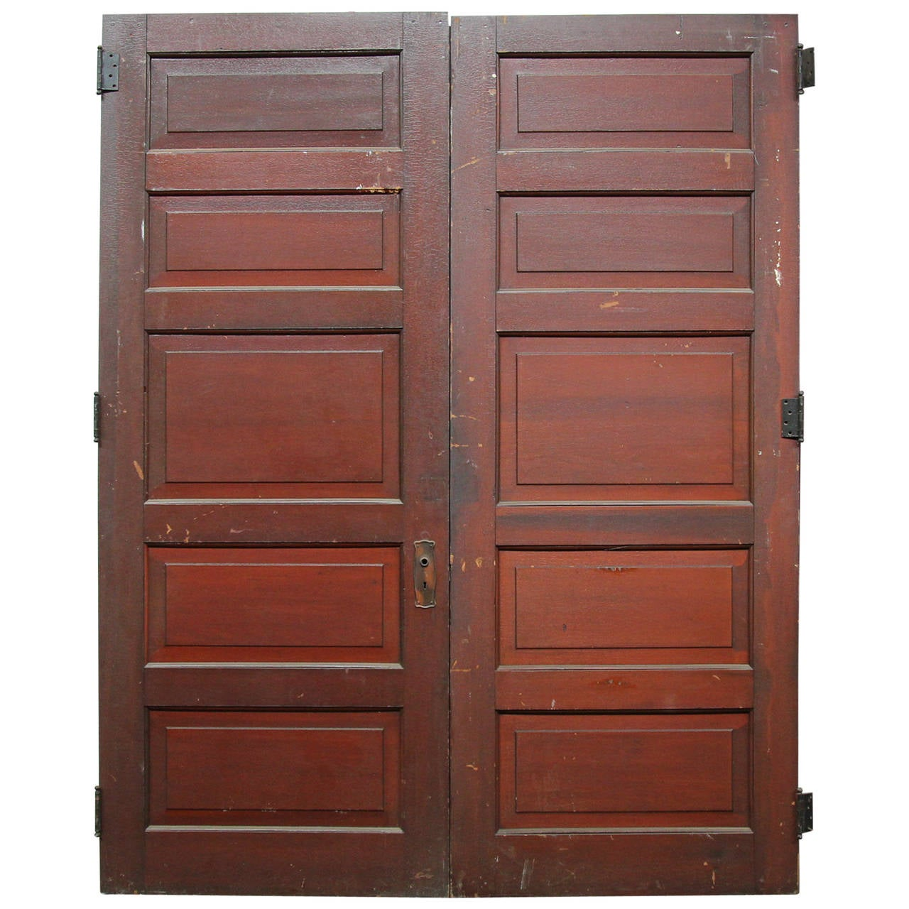 1920s Pair of Five Panel Wooden Doors with Original Fumed Copper Hardware 1