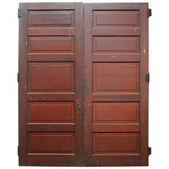 1920s Pair of Five-Panel Wooden Doors with Original Fumed Copper Hardware
