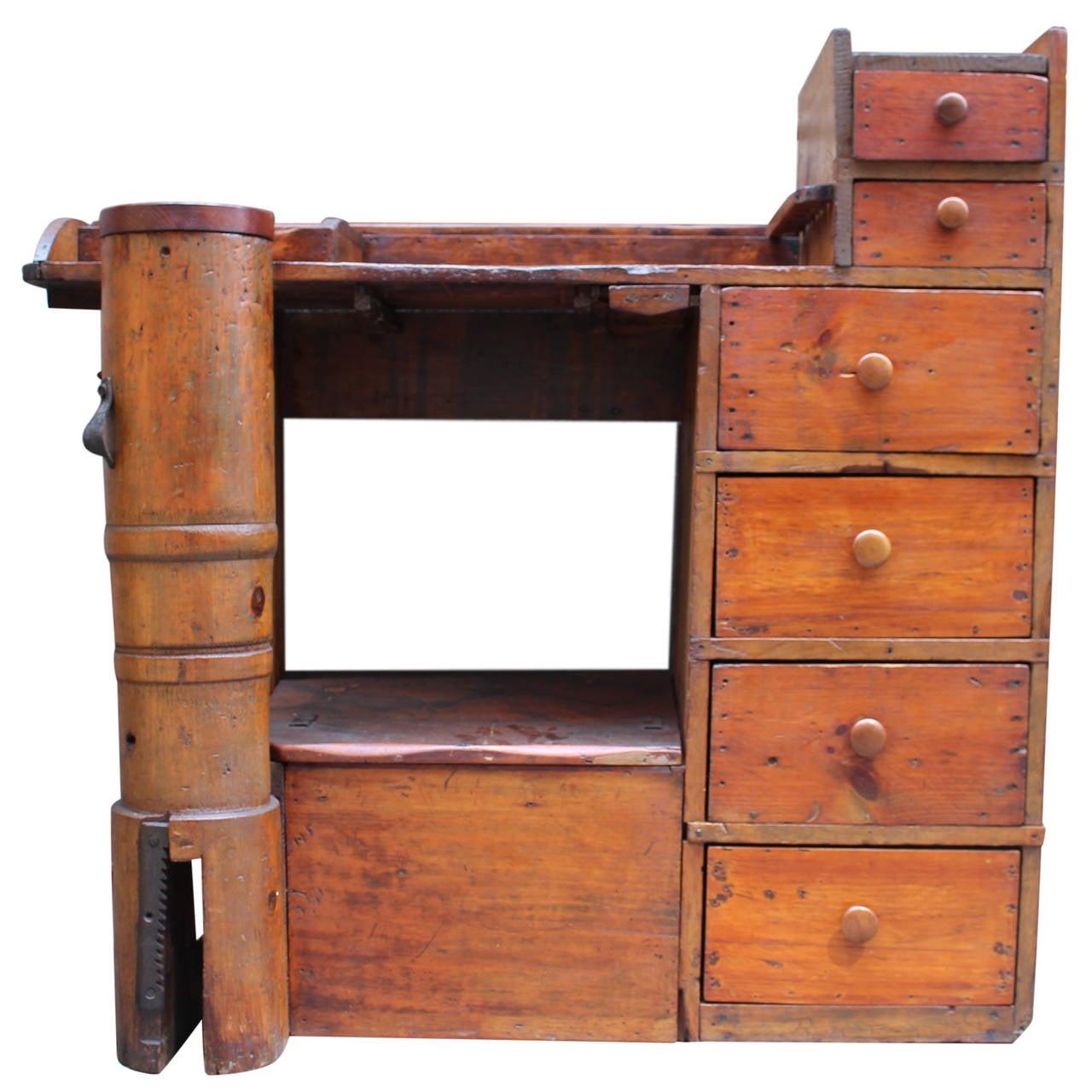 1880s Antique Pine Shoe Cobbler Work Desk with Drawers and Cubbyholes 1 - 1880s Antique Pine Shoe Cobbler Work Desk With Drawers And