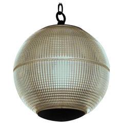 1970 Paris Holophane Globe Streetlight Turned Pendant Light