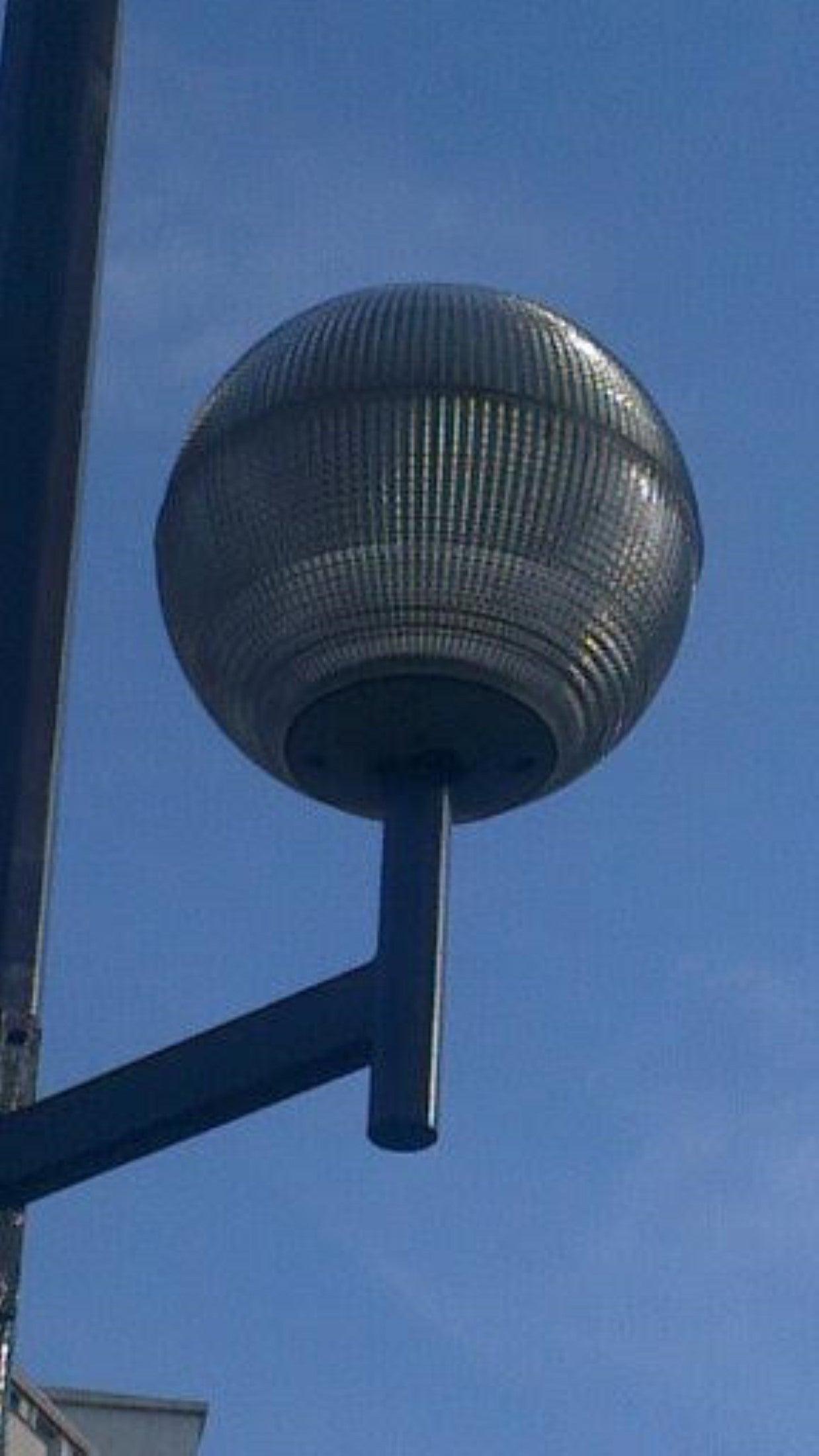 1970 Paris Holophane Globe Streetlight Turned Pendant