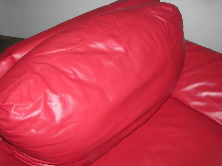 red leather retro sofa and chair set for sale at 1stdibs